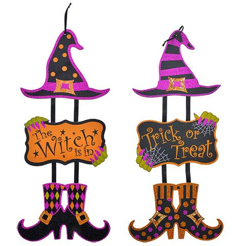 Halloween Dangling Witch Wall Signs 4 pack 7.25x16.75 in -