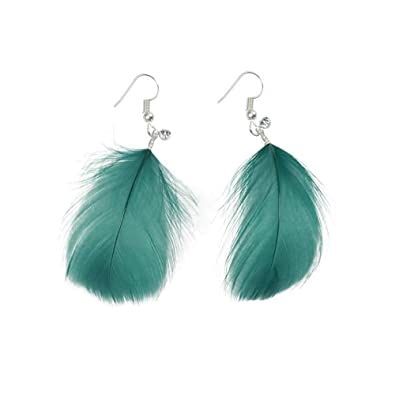 a74a0d87d Amazon.com: Dana Carrie S925Pure Silver Retro feather ear pendant  personalized exaggerating the length of the small diamond earrings flashing  ears Female: ...