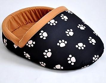 nanook Perros, Gatos Cama - Zapatillas Tamaño XL, Suave, Lavable, Color Negro con beigen Huellas: Amazon.es: Productos para mascotas