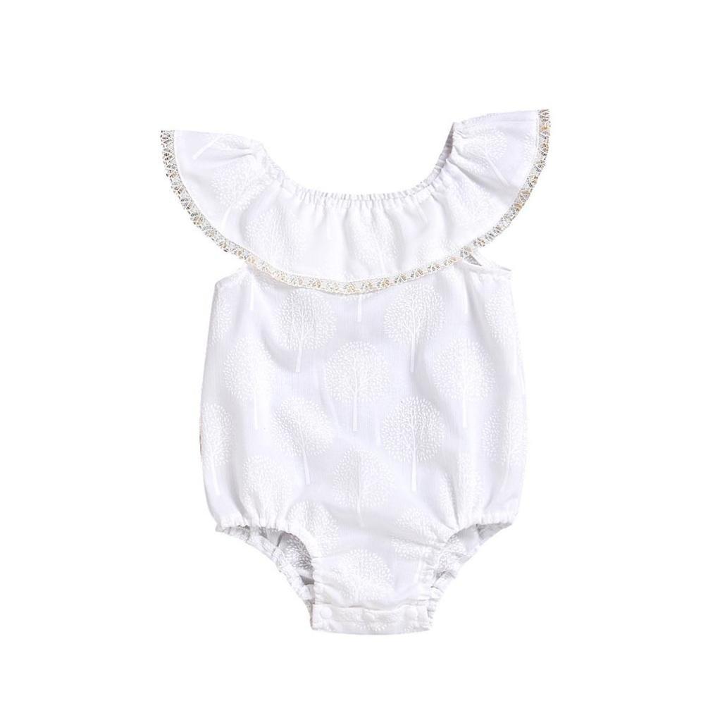 ASHOP Bebé Monos, Mono de encaje con hombros descubiertos recién nacido Unisex Mono Manga Corta Bodies Ropa Bebe Niño Verano Moda Conjunto Bebé ASHOP_178