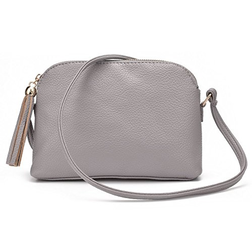 Jiaruo Women's Soft Leather Fashion Cross Body Shoulder Bag Mini Shell Bag (grey)