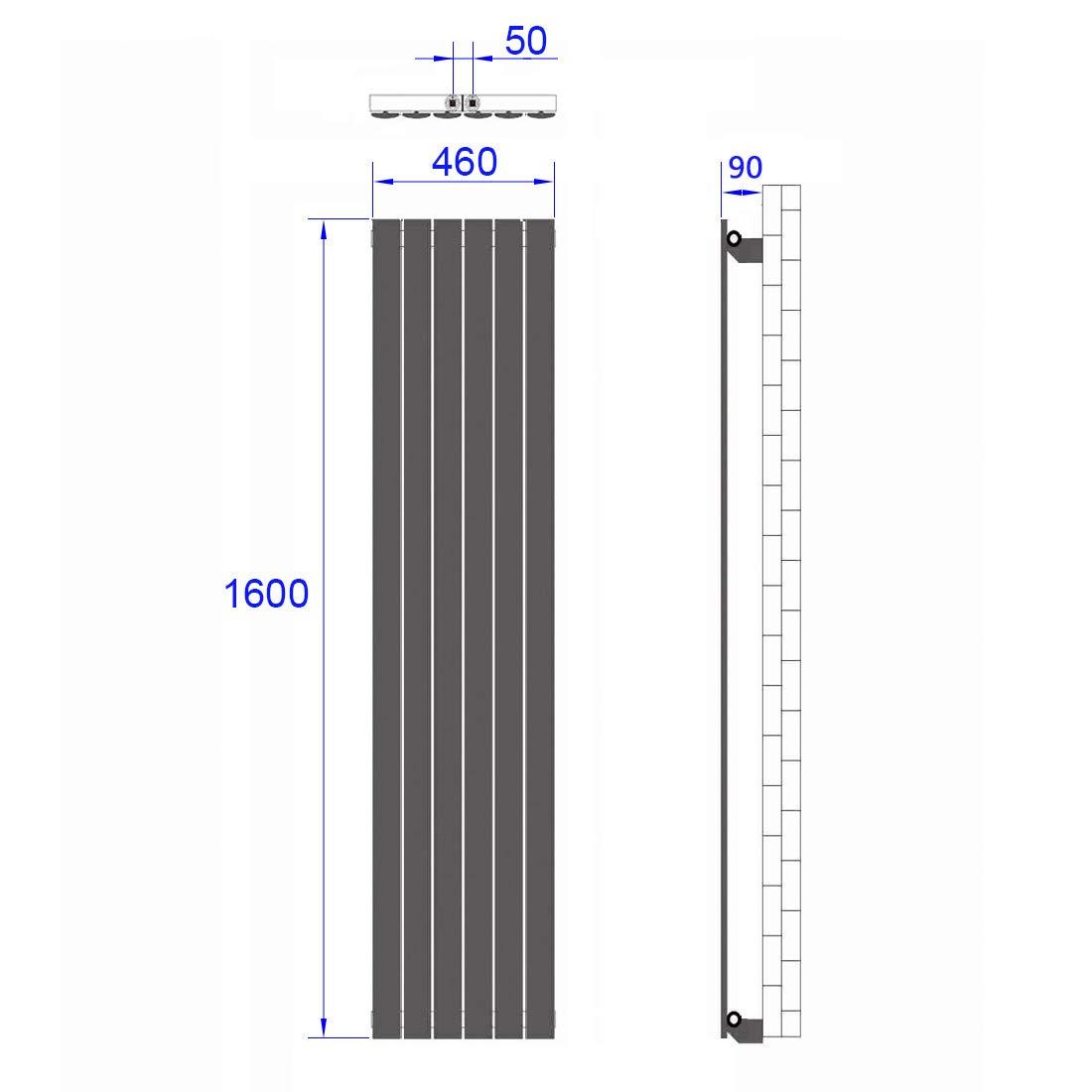 Anthrazit Vertikal Heizk/örper Design Paneelheizk/örper 1600x620mm Flach Doppellagig Mittelanschluss Heizung