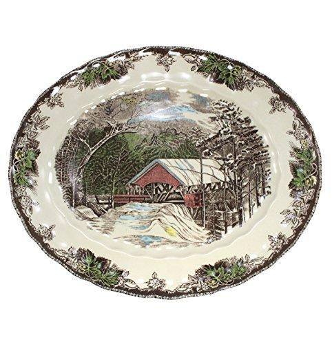 Johnson Brothers Friendly Village 15-Inch Platter Lily Oval Serving Platter