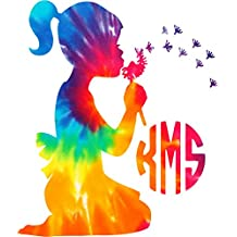 Little Girl Monogram Tie Dyed Decal sticker ( please leave your initials in the order that you want them in! ) Any sticker can be made yeti size to large back glass size