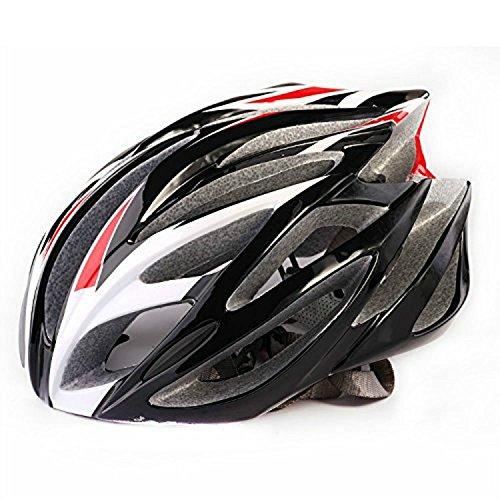 Prosshop Bicycle Helmet for Adult Revel Full Coverage Shell Snap Fit Visor Helmet With 21-Hole Design EPS+PC Integrally Molding Technology (Black+Red+White)