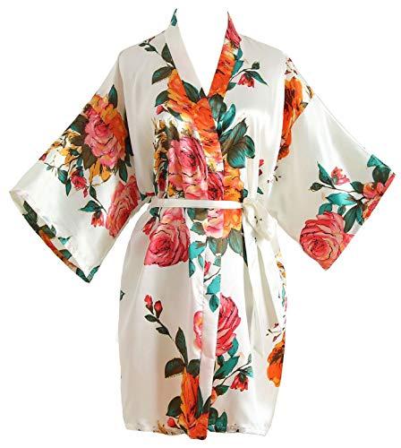 (Peony Floral Silk Kimono Robe Bridal Bridesmaid Robes Dressing Gown for Women White)