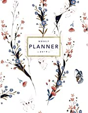 Weekly Planner 2019: Floral Planner | 8.5 x 11 in | 2019 Organizer with Bonus Dotted Grid Pages, Inspirational Quotes + To-Do Lists | Pretty White Flowers and Butterflies