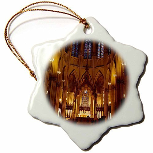 Novelty Christmas Decorations Interior Of St Patrick's Cathedral New York Usa Brian Jannsen Porcelain Snowflake Ornament Craft Crafts Xmas Tree - Cathedral St Patrick