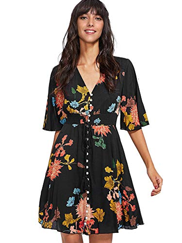 Milumia Women's Boho Button Up Split Floral Print Flowy Party Dress X-Small Black