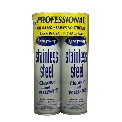 Sprayway Stainless Steel Cleaner, 2/15oz Can, Pack of 2