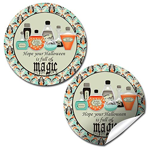 Halloween Elixir Labels (Trouble is Brewing Spooky Potions Halloween Party Thank You Sticker Labels for Kids, 40 2