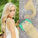 HIKYUU 24' 40g/20pcs Tape in Remy Human Hair Extensions Bleach Blonde #613 PU Skin Weft Hair Extensions Seamless Human Hair