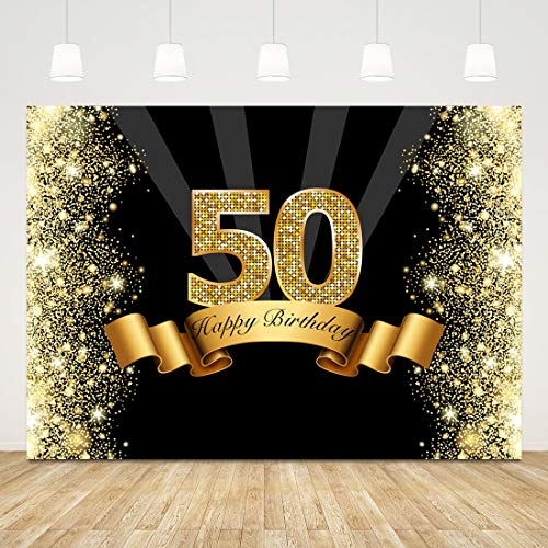 50th Birthday Backdrop Bokeh Glitter Gold Fifty Photo