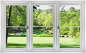 24 golf course window wall decal hole 12 at for Augusta national wall mural