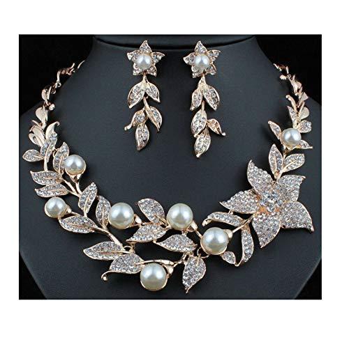 Janefashions Sexy Flower Faux Pearl Austrian Rhinestones Bib Necklace Earrings Set Prom N924 (Rose ()
