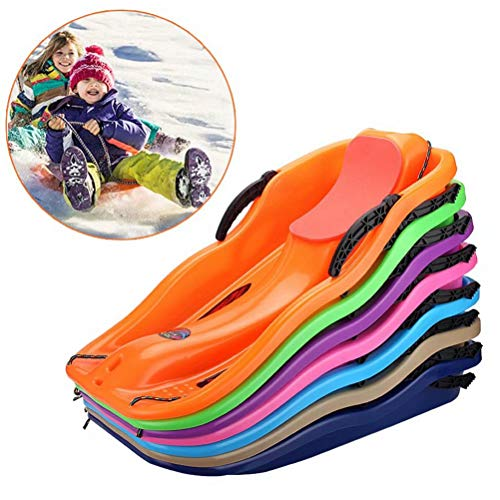 Prettywan Snow Sled for Kids/Adults,Downhill Toboggan Slider Boat Skiing Board with Cushion Pull Rope for Outdoor Grass Dune Game
