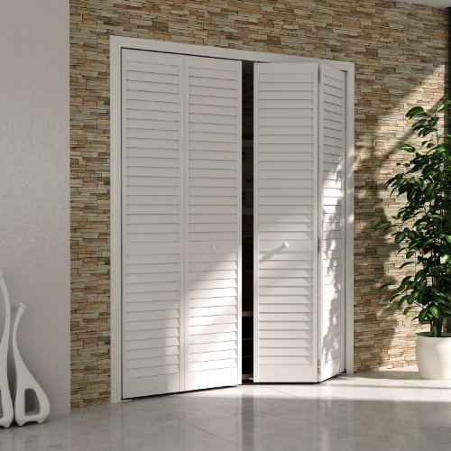 Bi-fold Closet Door, Louver Louver Plantation White (24x80) - Wood Closet Doors