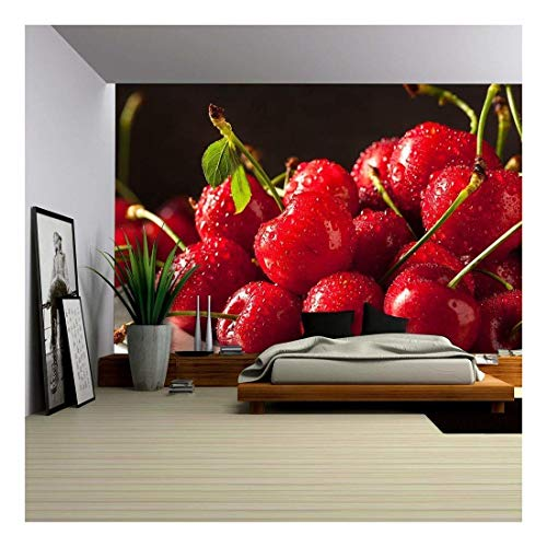 wall26 - Raw Organic Strawberry Cherries Ready to Eat - Removable Wall Mural | Self-Adhesive Large Wallpaper - 100x144 inches