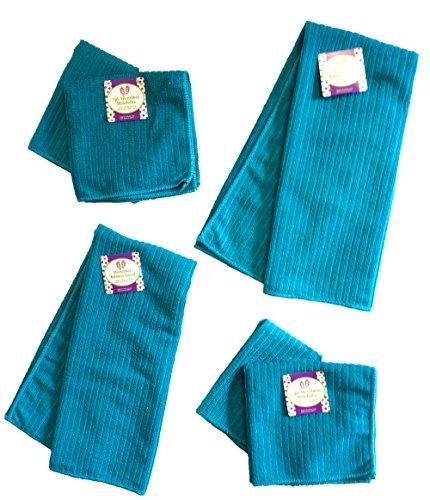 Black Duck Brand Set of 6 Turquoise/Aqua Microfiber Kitchen Towels (25