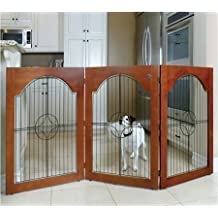 Majestic Pet Universal Free Standing Pet Gate (Wire Insert and Cherry Stain)
