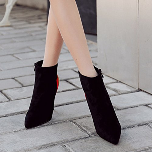 39 Aiguille Martin Suédé Demi Pointu Classique Talon Botte Bout Chaussures Femmes Noir Bottes Cheville Haut 4w0CFS6qC