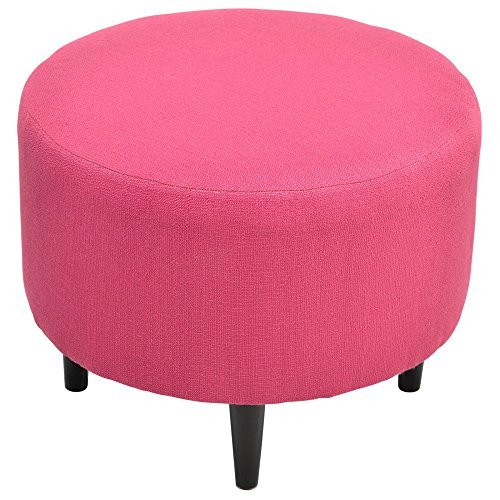 Sole Designs Candice Series Sophia Collection Round Upholstered Ottoman with Espresso Leg Finish, Pink Tulip