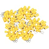 100PCS Insulated Fork Spade Wire Connector Electrical Crimp Terminal 12-10AWG
