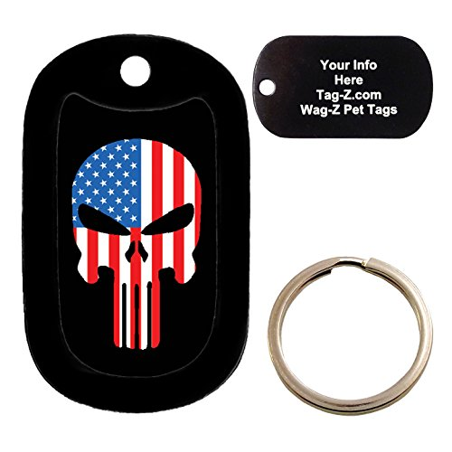 (Custom Engraved Pet Tag - AMERICAN FLAG EVIL SKULL - Dog Tag - Tag-Z Wag-Z)