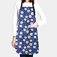 CONLIN Blue Daisy Aprons for Women, Men with Long Ties Waterproof - Kitchen Apron Gifts for Cleaning, Cooking, Baking…