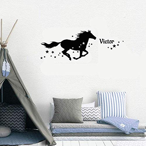 Kuari Wall Sticker Family DIY Decor Art Stickers Home Decor Wall Art Personalized Name Et Le Cheval Étoilé for Nursery Kids Room Boys Girls Room -