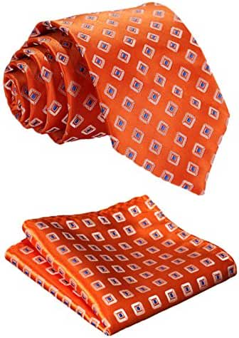 HISDERN Men's Classic Tie 3.4'' Necktie and Pocket Square Set Orange / Blue