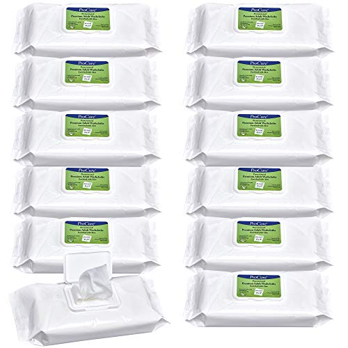 (Pro Cure Disposable Adult Washcloths - Enriched with Aloe and Lanolin, Hypoallergenic and Alcohol Free - Premium Quality, Pre Moistened, Soft 9
