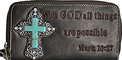 Stony West God All Things Are Possible Bible Verse Cross Wallet Zipper