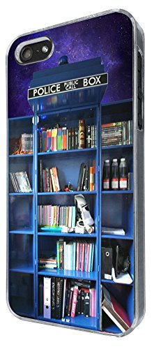 454 - Doctor Who Tardis Call Box Book Shelves Library Design iphone 5 5S Coque Fashion Trend Case Coque Protection Cover plastique et métal