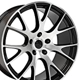 20x9 Wheel Fits Dodge, Chrysler - Challenger, Charger Hellcat Style Black w/Mach'd Face Rim