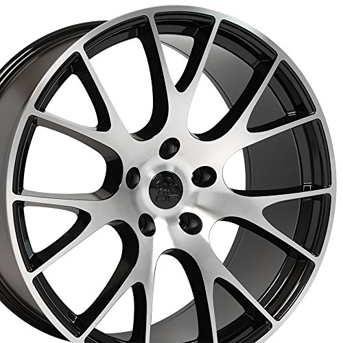 OE Wheels 20 Inch Fits Dodge Challenger Charger SRT8 Magnum Chrysler 300 SRT8 DG15 Hellcat Style Gloss Black Mach'd 20x9 Rim Hollander - For Charger 20 Rims