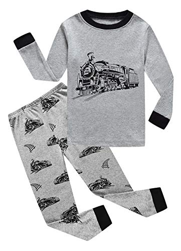 Family Feeling Train Little Boys Long Sleeve Pajama Sets for Child 100% Cotton Sleepwears Toddler Kids Pjs Size 4 -
