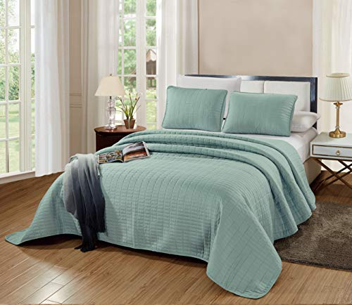 GrandLinen 3-Piece Bedding Catena Quilt Set Solid SEA Foam Green King Size 104