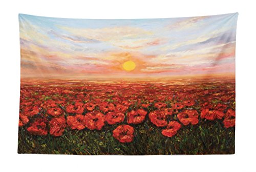 Lunarable Flower Tapestry, Wild Opium Poppy with Petals Field in Front of Sunset Artistic Picture, Fabric Wall Hanging Decor for Bedroom Living Room Dorm, 45 W X 30 L inches, Pale Blue Green Red