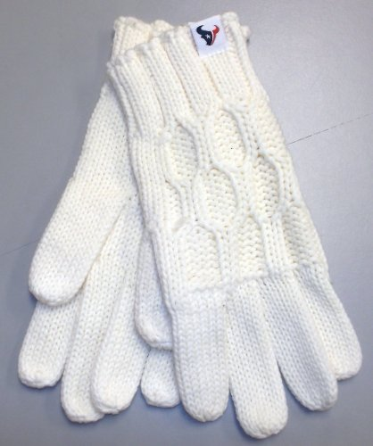 Reebok Football Glove - Reebok Houston Texans Women's Cream Knit Gloves One Size Fits All