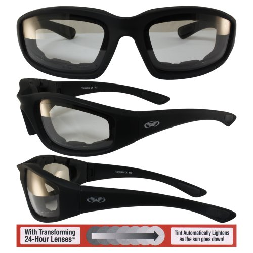 Kickback PHOTOCHROMIC - Light Adjusting Lenses - EVA Foam Padded Motorcycle - Photochromic Sunglasses Motorcycle