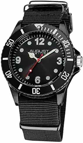 August Steiner Kids' AS8061BK Juniors Black Plastic Watch with Nylon Band