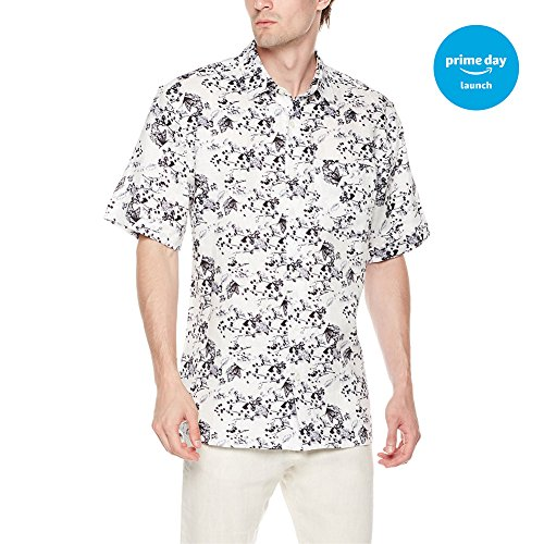 Isle Bay Linens Men's Standard Fit 100% Linen Floral Hawaiian Short Sleeve Casual Shirt Floral X-Large from Isle Bay Linens