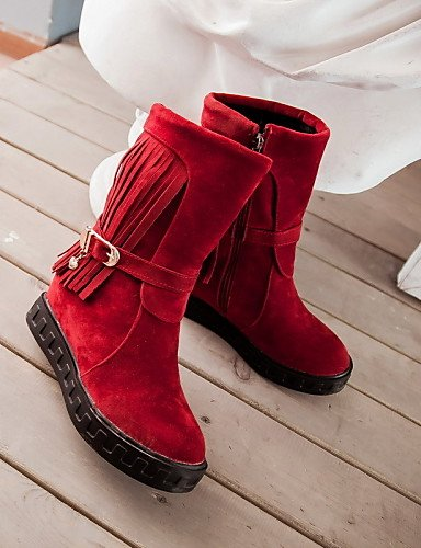 Red us10 Rojo Uk6 Mujer 5 Redonda Cn40 Plataforma Xzz 5 Botas Eu39 5 Uk8 Black 5 Eu42 Vellón Punta us8 Negro Casual Beige Moto Vestido Zapatos Cn43 De Zxn774q6F