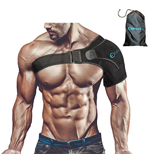 Shoulder Brace with Pressure Pad for women or men; Rotator Cuff Support for Injury Prevention; Dislocated AC Joint; Labrum Tear; Shoulder Pain; Sprain; Neoprene Compression Sleeve; Adjustable Strap by Espandi