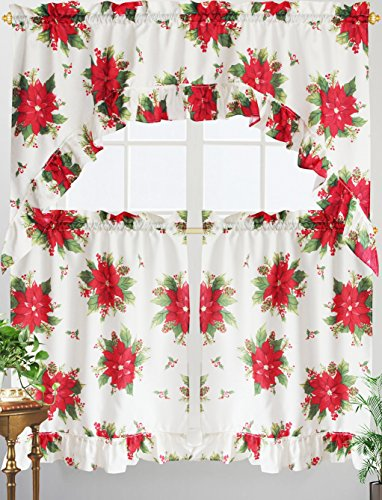 3 piece poinsettia holiday kitchen window curtain tier and valance set - Christmas Kitchen Curtains