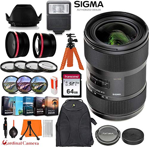 Sigma 18-35mm f/1.8 DC HSM Art Lens for Canon EF w/Filters, Close-up & Auxillary Lens Kit + Backpack + 64GB Memory Card + Photo/Video Editing Software & Exclusive Accessory Bundle from Cardinal Camera