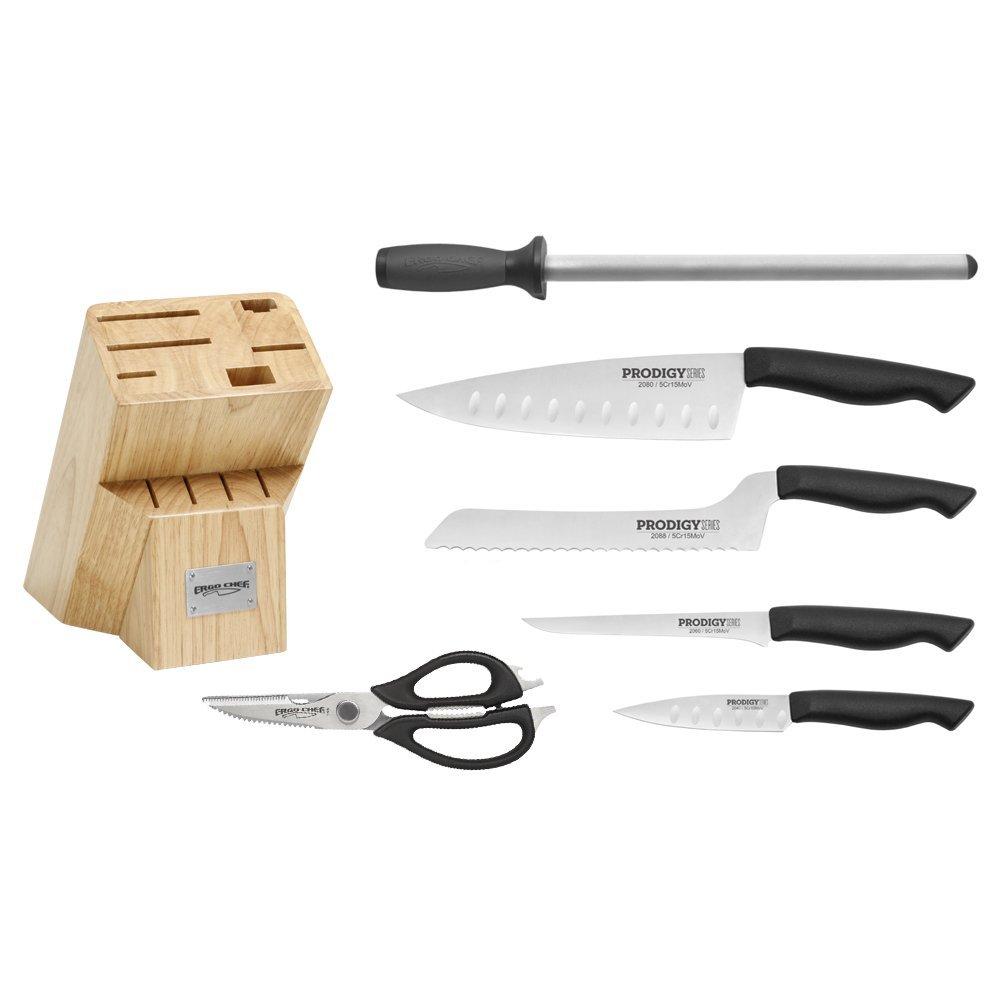 Prodigy 7pc. Knife Block Set w/ 8'' Chef knife (2078) by PRODIGY