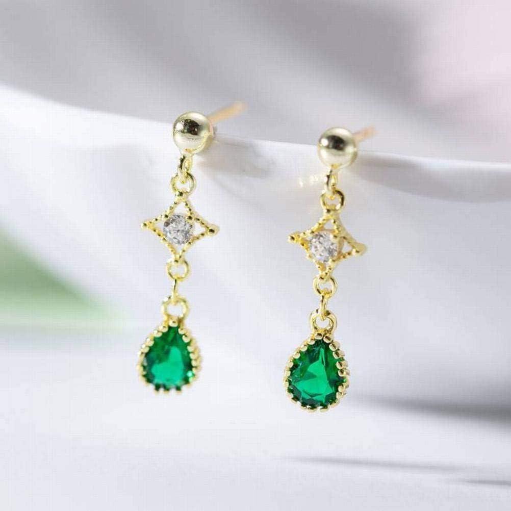 Katylen Pendientes de Botón con Circonitas Esmeralda S925 Pendientes de Gota de Diamante de Plata Esterlina, Gold