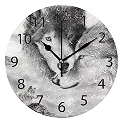 XiangHeFu Wall Clock,Round 10 Inch Diameter Silent Wolf Couple Legend Decorative for Home Office School